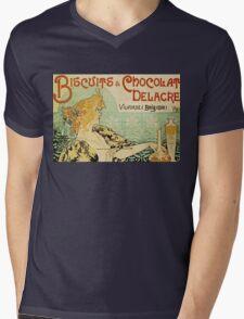 Vintage poster - Biscuits and Chocolat Delacre Mens V-Neck T-Shirt