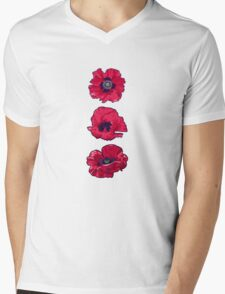 Poppies Mens V-Neck T-Shirt