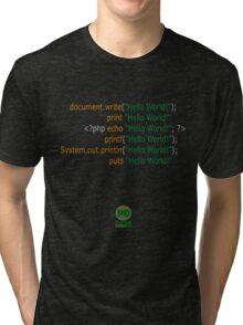 Hello World in Multiple Languages (Dark) Tri-blend T-Shirt
