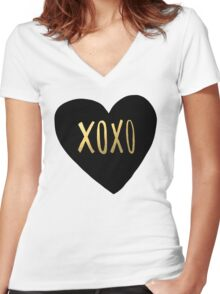 XOXO Women's Fitted V-Neck T-Shirt