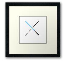 Rey's lightsaber and staff Framed Print