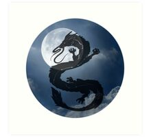 Dragon Haku Spirited Away night sky Art Print