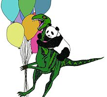 Dino and panda ballon print by JurassicPanda