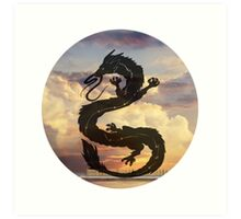 Dragon Haku Spirited Away clouds Art Print