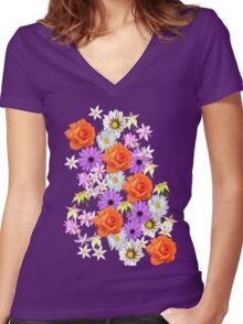 Orange Rose Women's Fitted V-Neck T-Shirt