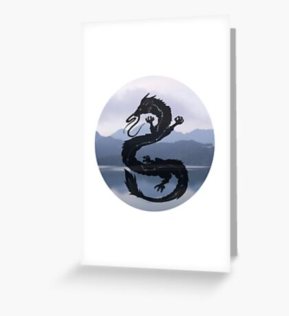 Dragon Haku Spirited Away blue Greeting Card