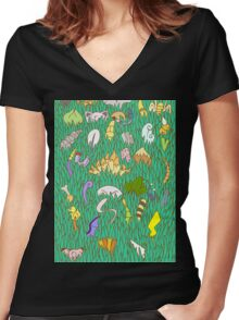 Stay Out of the Tall Grass - Gen 1  Women's Fitted V-Neck T-Shirt