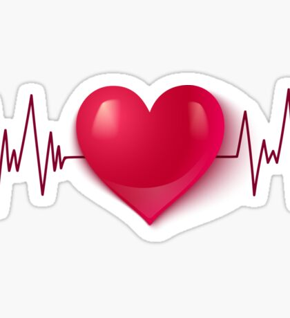 Heart and pulse Sticker