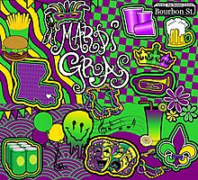 Mardi Gras Colors Collage Photographic Print