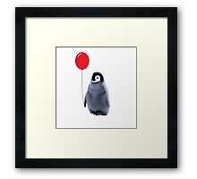 baby penguin with a balloon Framed Print