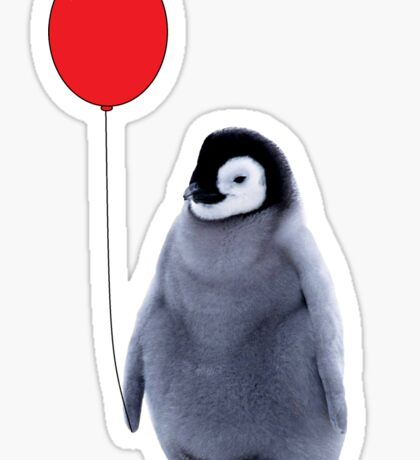 baby penguin with a balloon Sticker