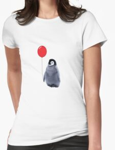 baby penguin with a balloon Womens Fitted T-Shirt