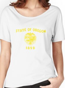 Blue and Gold Flag of Oregon with Shield Women's Relaxed Fit T-Shirt
