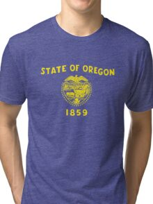 Blue and Gold Flag of Oregon with Shield Tri-blend T-Shirt