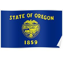 Blue and Gold Flag of Oregon with Shield Poster