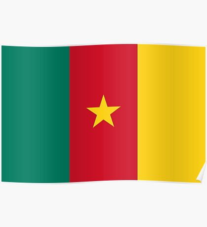 Green Red and Gold Flag of Cameroon with Star Poster