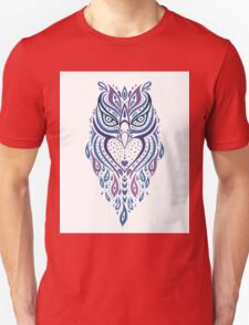 Cute Colorful Tribal Aztec Owl Pattern T-Shirt