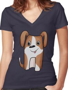 White-brown Puppy Women's Fitted V-Neck T-Shirt