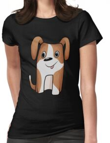 White-brown Puppy Womens Fitted T-Shirt