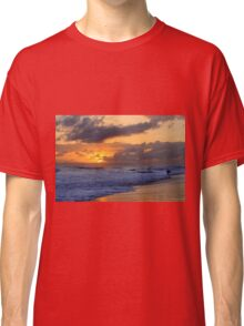 Surfer at Sunset on Kauai Beach With Niihau on Horizon Classic T-Shirt
