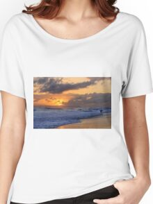 Surfer at Sunset on Kauai Beach With Niihau on Horizon Women's Relaxed Fit T-Shirt