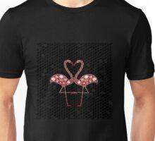 Pink Mosaic Flamingos in Love Unisex T-Shirt