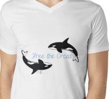 Free the Orcas Mens V-Neck T-Shirt
