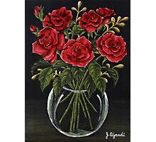 Red Roses in a Glass Vase Photographic Print