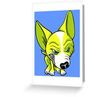 Angry Chihuahua White & Yellow Greeting Card