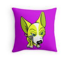 Angry Chihuahua White & Yellow Throw Pillow