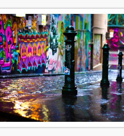 Bollards in a Rainy Graffiti Lane Sticker