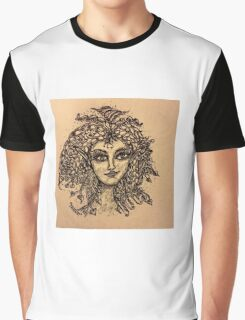 Beautiful Zentangle Vintage Look Fairy Graphic T-Shirt