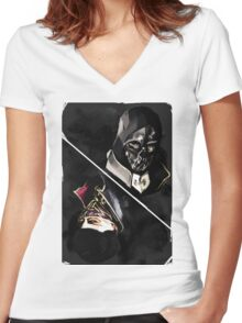 Dishonored tarot Women's Fitted V-Neck T-Shirt