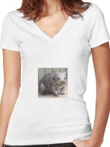 Hairy Nosed Wombat Women's Fitted V-Neck T-Shirt