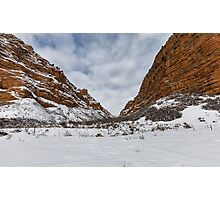 Red rocks in the Snow Photographic Print