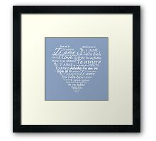 Heart I love you in other languages Framed Print