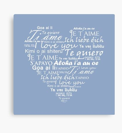 Heart I love you in other languages Canvas Print