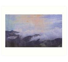 mountains in clouds Art Print