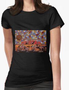 Uluru | Ayers Rock - Authentic Aboriginal Arts Womens Fitted T-Shirt