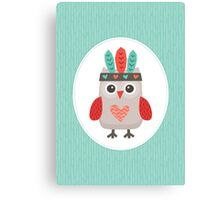 Hipster Owlet Mint v2 Canvas Print