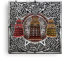 Aztec Time Police Droid Pencils sketch Art Canvas Print