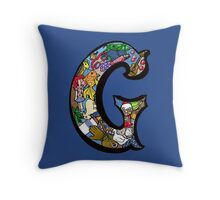 Doodle Letter G Throw Pillow