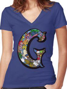 Doodle Letter G Women's Fitted V-Neck T-Shirt