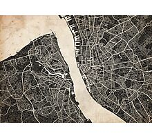 Liverpool map ink lines Photographic Print