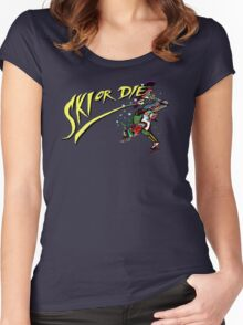 Oldies Ski or Die - Retro Pixel DOS game fan shirt Women's Fitted Scoop T-Shirt