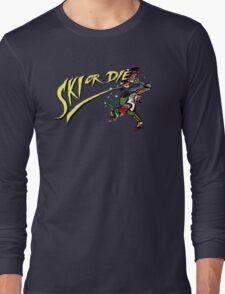 Oldies Ski or Die - Retro Pixel DOS game fan shirt Long Sleeve T-Shirt