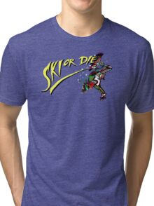 Oldies Ski or Die - Retro Pixel DOS game fan shirt Tri-blend T-Shirt