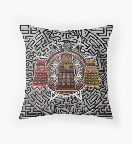 Aztec Time Police Droid Pencils sketch Art Throw Pillow