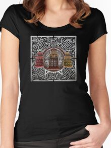 Aztec Time Police Droid Pencils sketch Art Women's Fitted Scoop T-Shirt