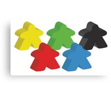 Set of 5 meeples (Board game tokens) Canvas Print